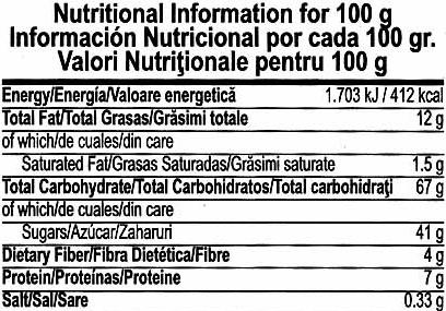 Gluten Free Fruit Mix Granola Bars - Información nutricional