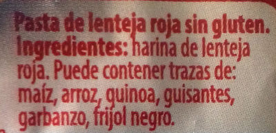 Pasta Lenteja Roja - Ingredientes