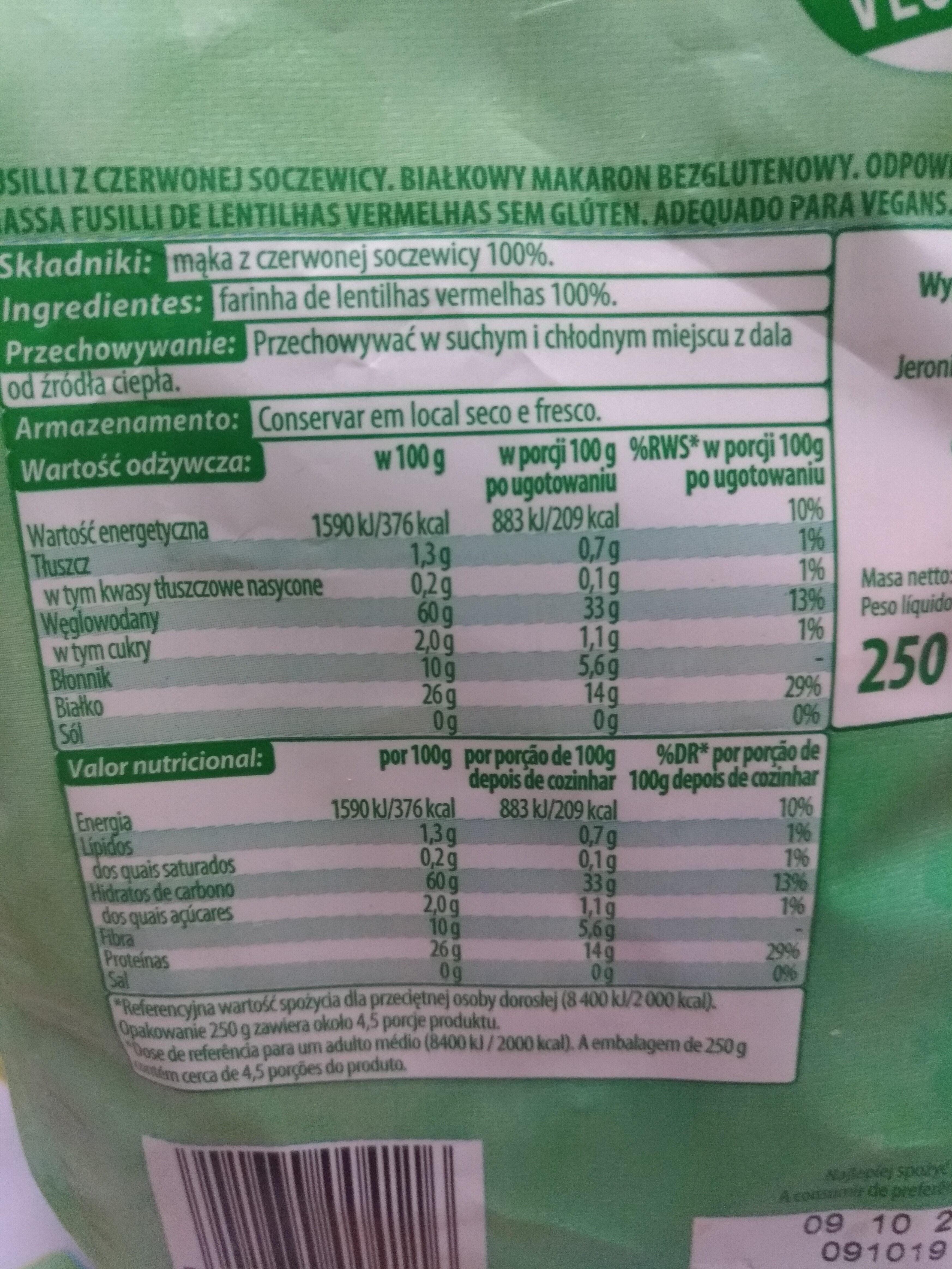 go Vege - Nutrition facts - pt