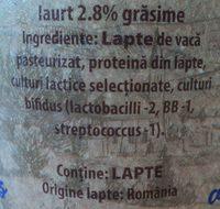 Solomonescu Iaurt 2,8% grasime cu fermenti bifidus - Ingredients - ro