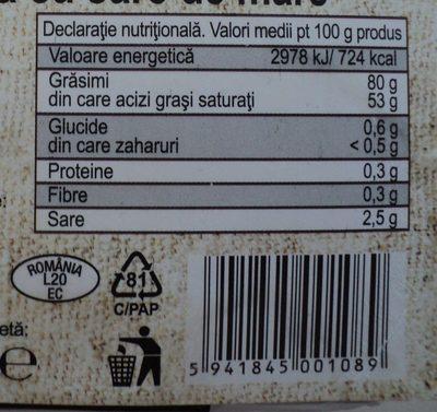 Lacto Food Unt de masa cu sare de mare - Nutrition facts - ro