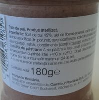 Drag de Romania Pate de pui - Ingrediënten