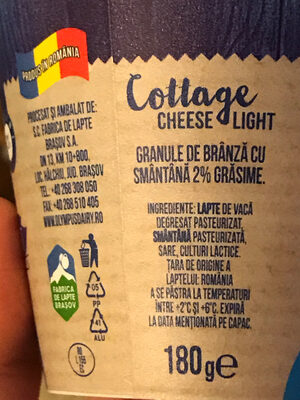Olympus Cottage Cheese light - Ingredients - ro