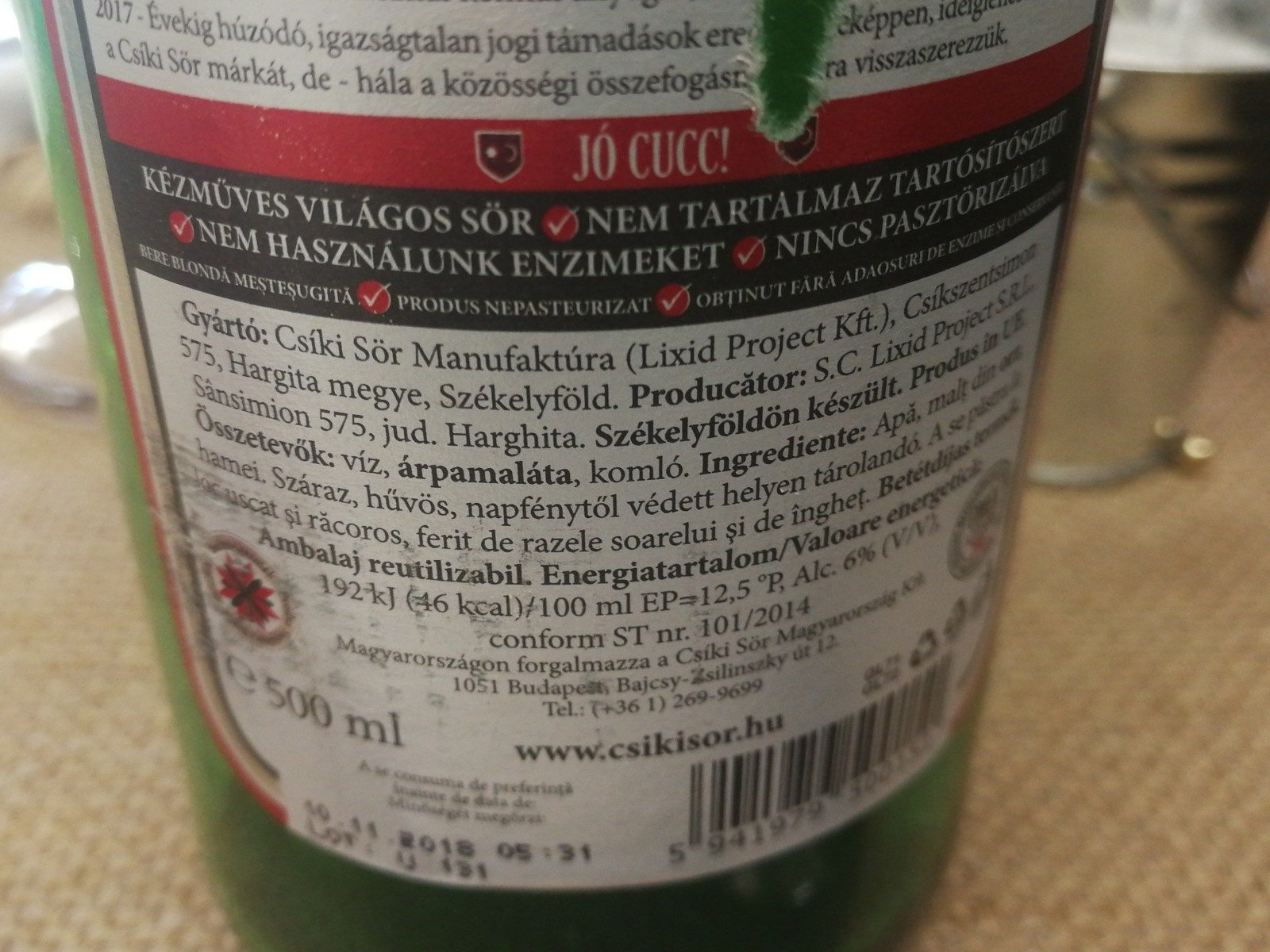 Bieras - Ingrediënten