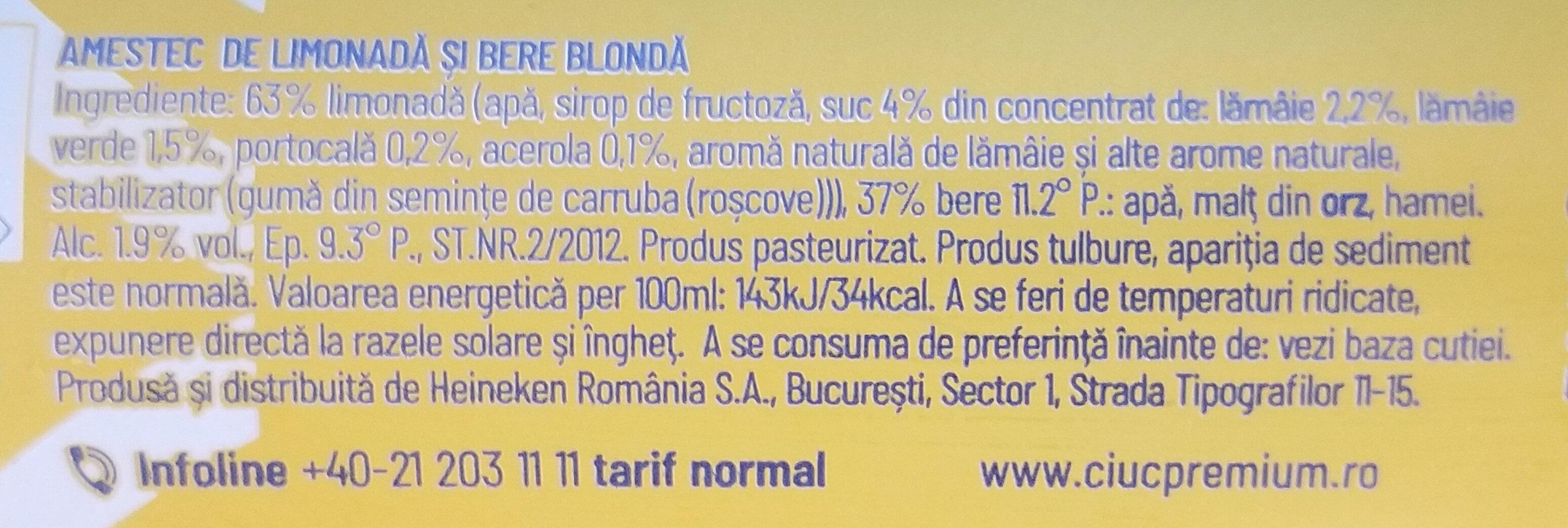 Radler lămâie și lime - Ingredients