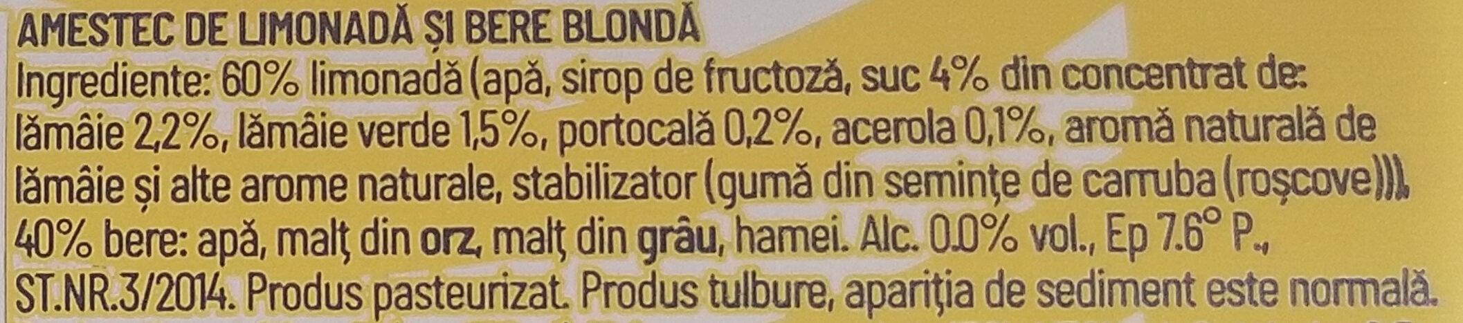 Ciuc Radler lămâie și lime 0,0% - Ingredients