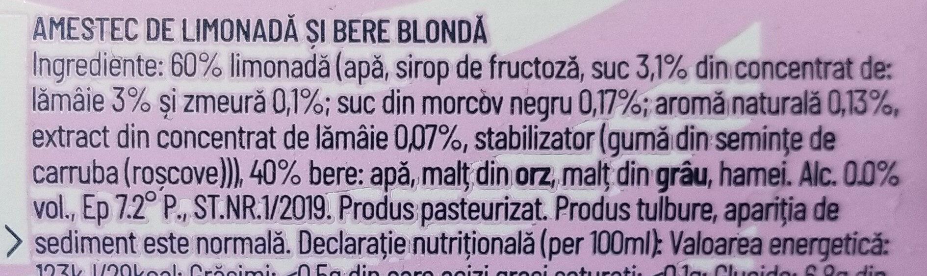 Ciuc Radler zmeură și lămâie 0,0% - Ingredients