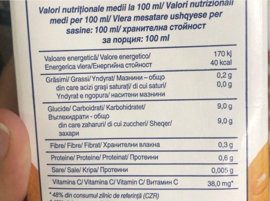 Santal Suc De Portocale -portocale 100% - Informations nutritionnelles - fr