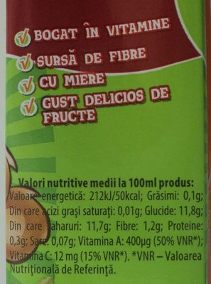 Tedi Morcov, măr și zmeură - Informations nutritionnelles - ro