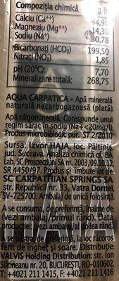 Aqua Carpatica Plata 1L - Ingrédients - fr