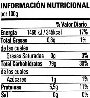Fettuccine de maíz sin gluten - Información nutricional - es
