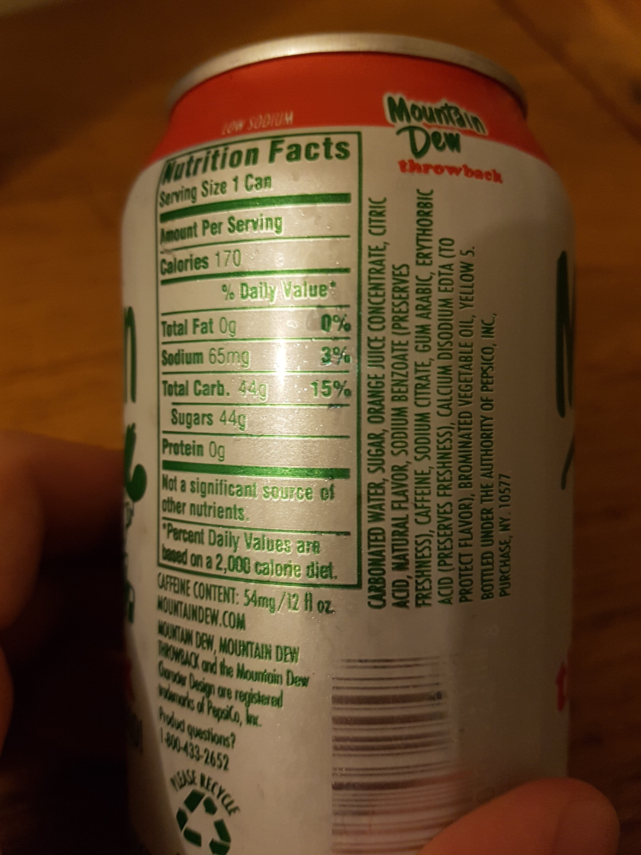Mountain Dew - Ingredients