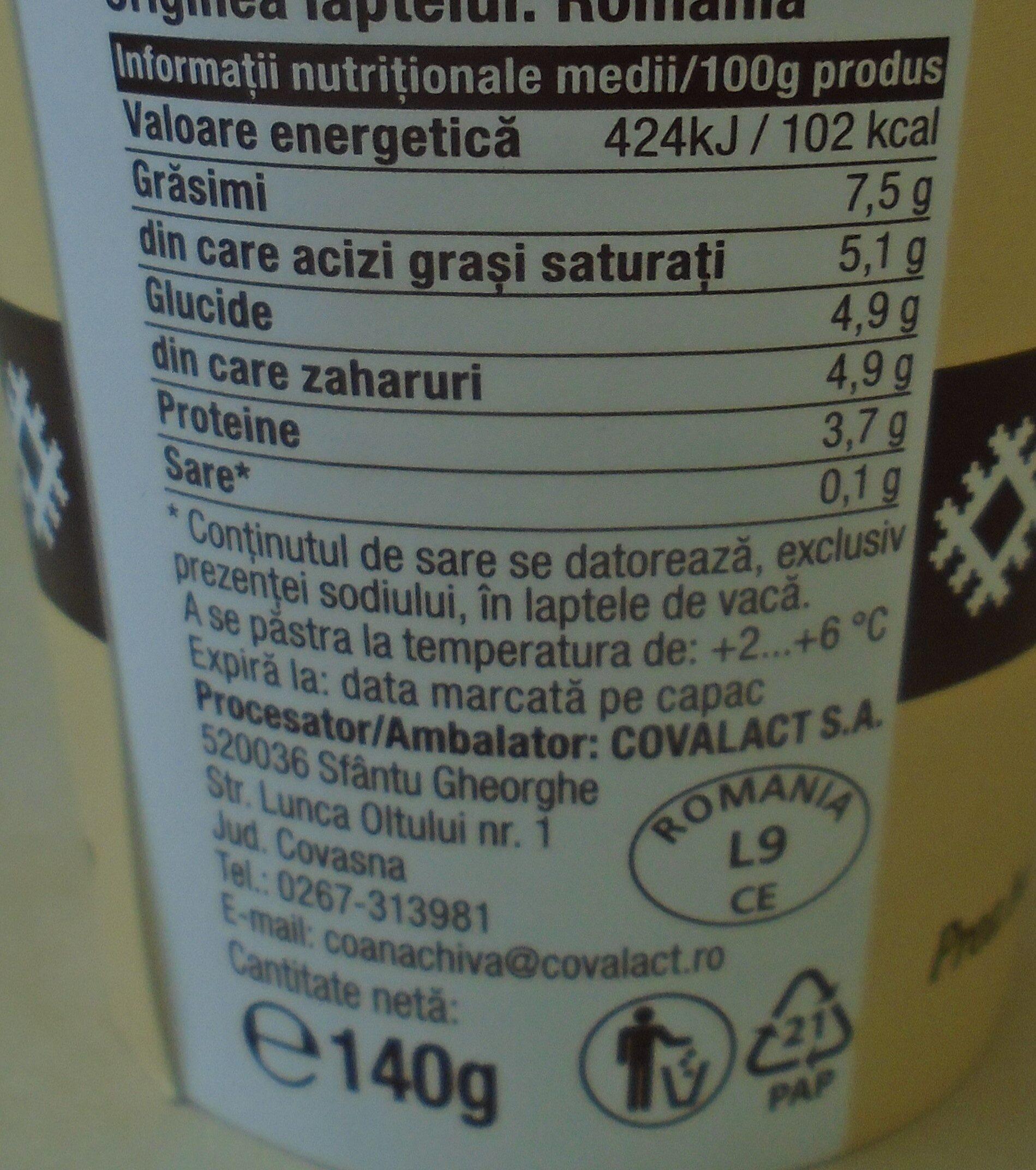 Covalact Iaurt cu caimac - Nutrition facts - ro