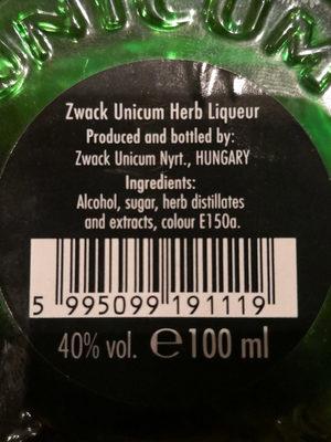 Zwack Unicum - Ingrédients - fr