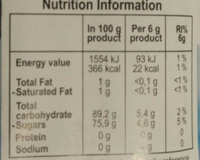 Magic Sipper chocolate favour - Nutrition facts