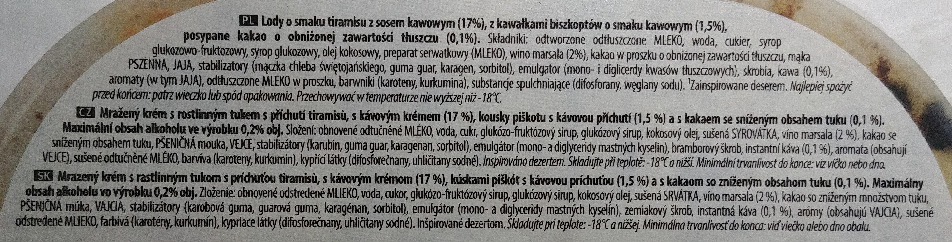 Lody o smaku tiramisu z sosem kawowym - Składniki - pl