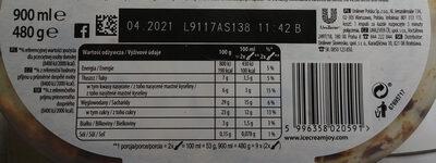 Lody o smaku tiramisu z sosem kawowym - Wartości odżywcze - pl