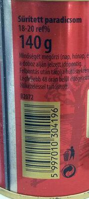 Sűrített paradicsom - Ingredientes - hu