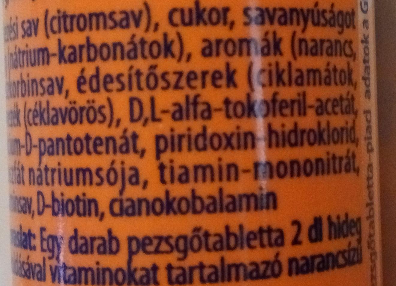 Multivitamin pezsgőtabletta - Ingredients - hu