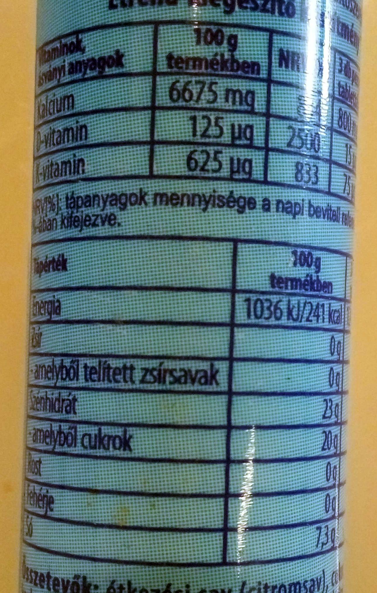 Kalcium+D+K vitamin - Voedingswaarden - hu