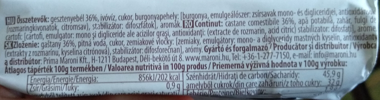 Gesztenyés desszert 36%-os - Ingredients - en