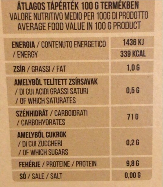 pane azzimo - Informations nutritionnelles - hu