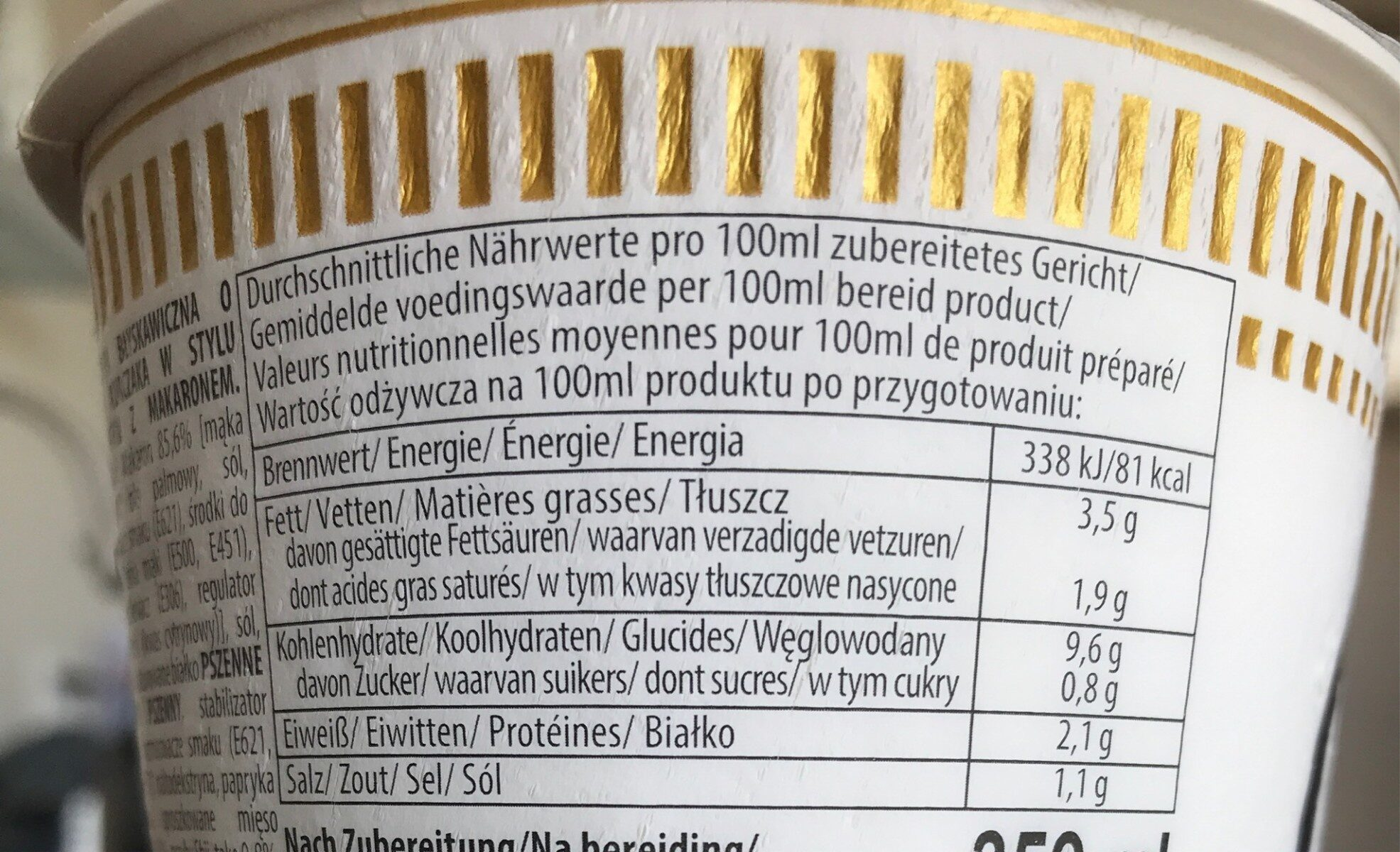 Cup noodles ginger Chicken - Voedingswaarden - de