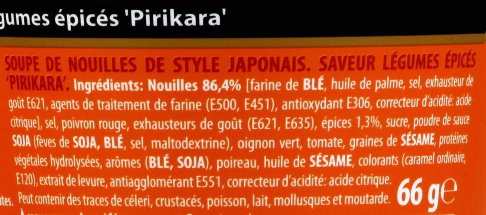 Nouilles Japonaises Nissin - Légumes épicés ; - Ingrédients