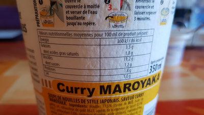 Nouilles japonaises curry 'maroyaka' - Informations nutritionnelles - fr