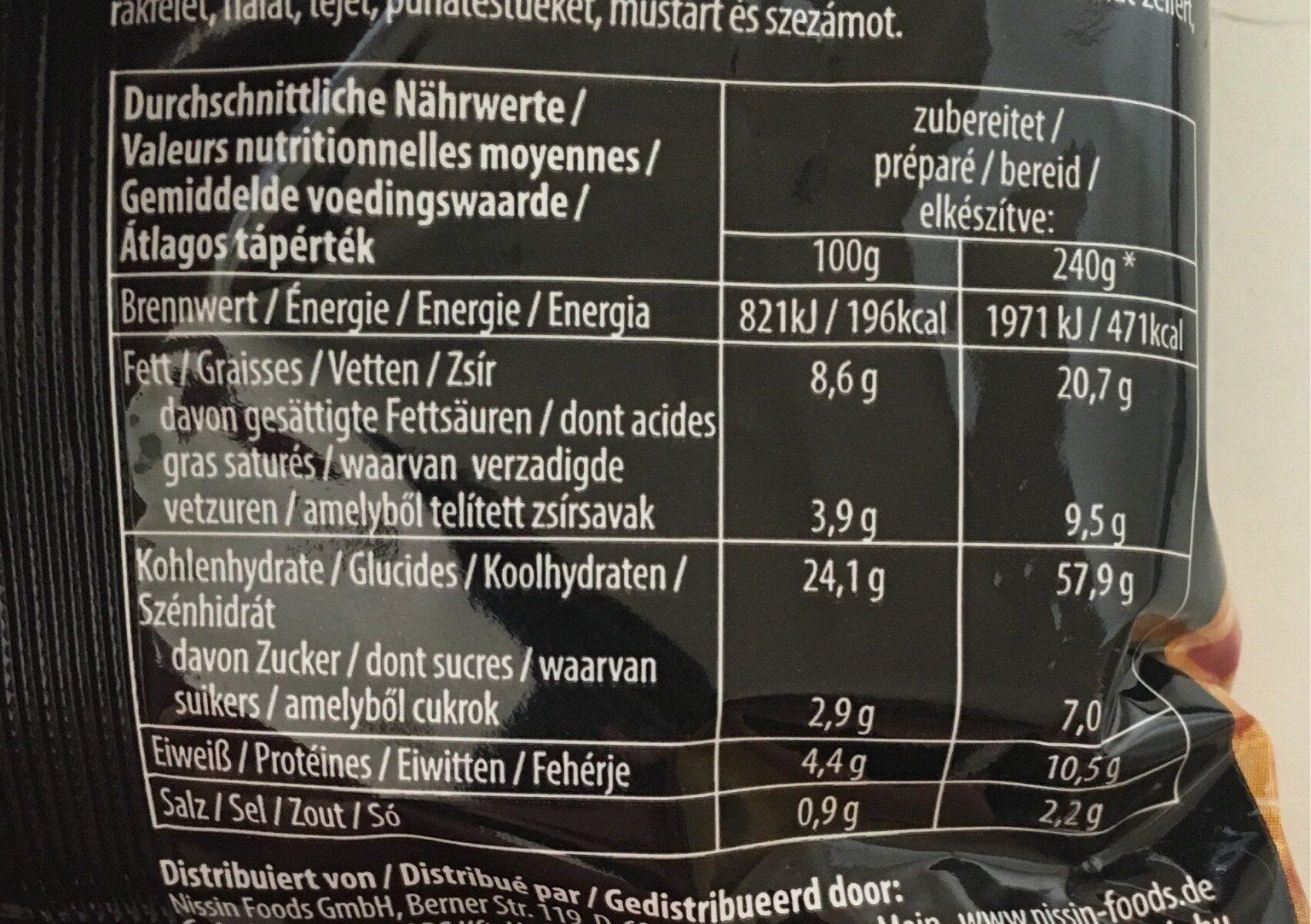 SOBA Sachet Thai - Valori nutrizionali - fr