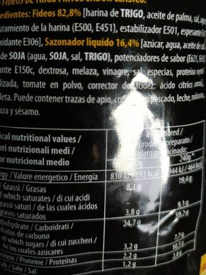 Nissin Soba PKT Classic Noodles - Informations nutritionnelles - fr
