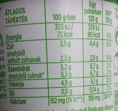 Acrivia krémes natúr - Informations nutritionnelles - hu