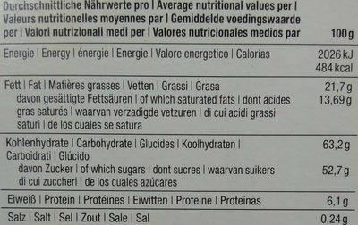 Slims Zartbitter - Nährwertangaben