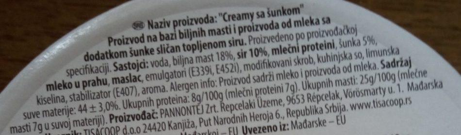 Creamy sa šunkom - Ingrediënten - sr