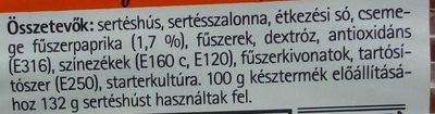 Paprikás vastagkolbász - Ingrédients