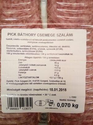 Báthory csemege szalámi - Informations nutritionnelles - hu