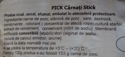 Pickstick Snack - Ingredients - ro