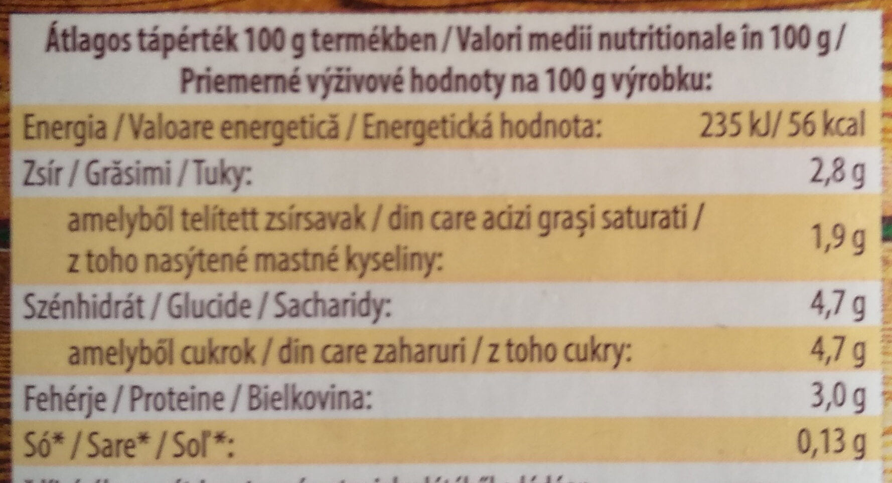 Bio tej 2,8% - Informations nutritionnelles - hu