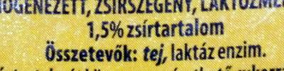 Laktózmentes tej 1,5% - Ingrédients - hu