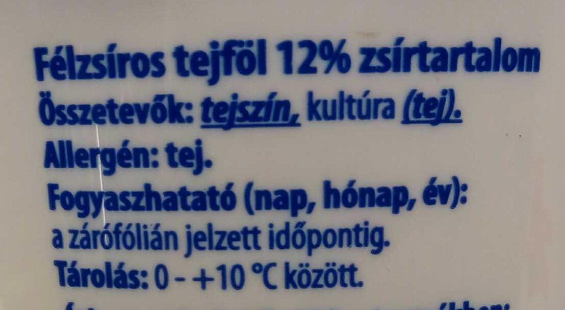 Tejföl félzsíros 12% - Ingrédients