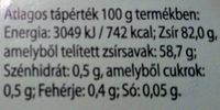 Magyar vaj - Informations nutritionnelles - hu