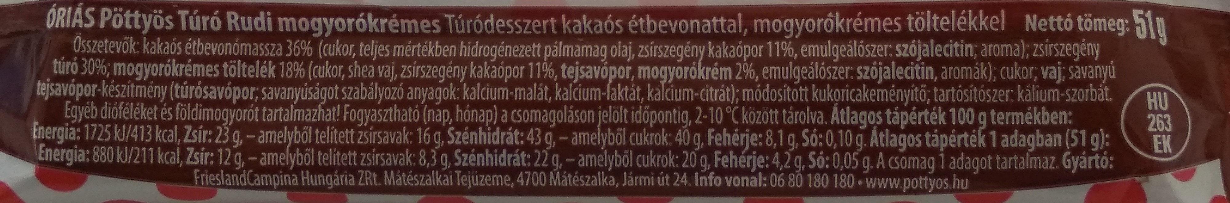 Óriás pöttyös túrórudi, mogyorókrémes - Ingrédients - hu