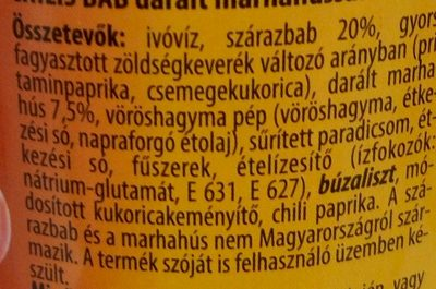Chilis bab darált marhahússal - Ingrédients - hu