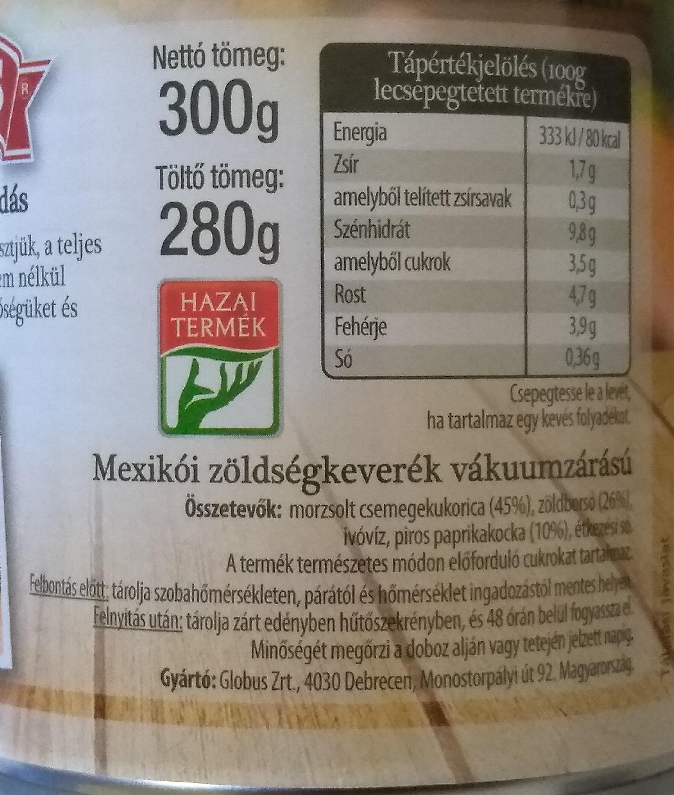 Mexikói zöldségkeverék - Informations nutritionnelles - hu
