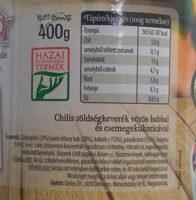 chilis zöldségkeverék - Informations nutritionnelles - hu