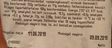Csemege Snack kolbász - Nutrition facts