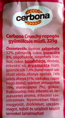Cerbona Crunchy ropogós gyümölcsös müzli - Ingrédients - hu