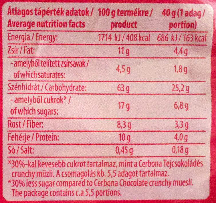 Cerbona Crunchy ropogós gyümölcsös müzli - Nutrition facts - en