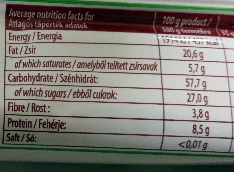 Magvas-gyümölcsös müzliszelet - Nutrition facts - hu