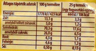 Cerbona Narancsos-fahéjas ropogós müzliszelet - Nutrition facts - en